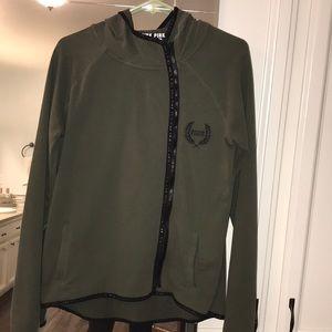 Army Green PINK zip up hoodie 🙌🏼